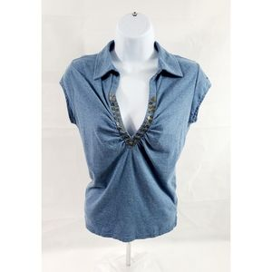 GUC DKNY Jeans Collared Vneck Sleeveless Top